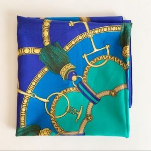 Fashion Blue Green Made in Italy Scarf